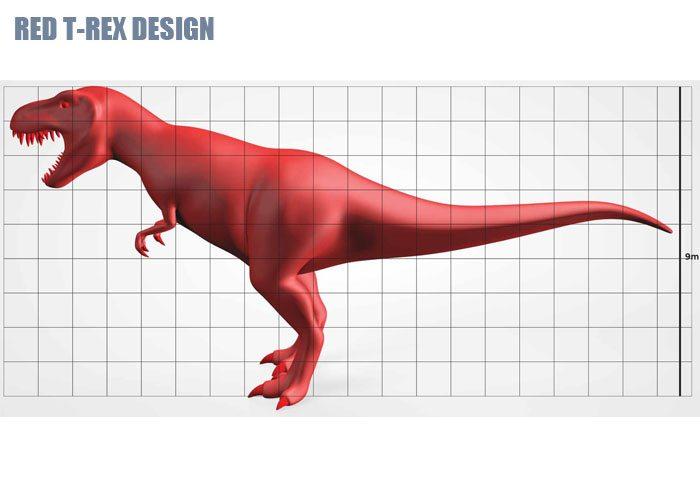 Red Cartoon T-Rex Design