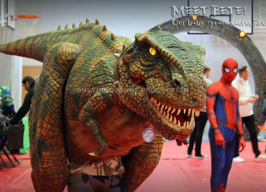 T-Rex Costume and Spiderman